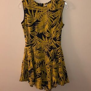 H&M HM YELLOW BLUE PALM LEAF SWING DRESS 8